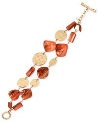 Kenneth Cole - Orange Gold-tone Mixed Shell Bead Two-row Toggle Bracelet - Lyst