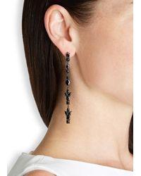 Iosselliani | Black Zircon-embellished Gunmetal Drop Earrings | Lyst