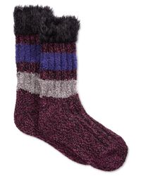 Hue | Black Women's Furry Top Boot Socks | Lyst