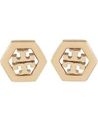 Tory Burch | Metallic Hex Logo Stud Earring - For Women | Lyst
