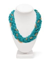 Forever 21 - Blue Braided Bead Chain Collar - Lyst