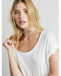 Free People - White Concho Leather Choker - Lyst
