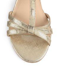 kate spade new york - Vetta Metallic Crackled Leather Wedge Sandals - Lyst