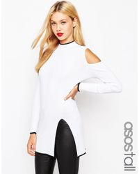 ASOS - White High Neck Tunic With Cold Shoulder And Side Split - Lyst