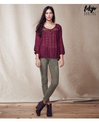 Tokyo Darling | Purple Long Sleeve Sheer Dobby Peasant Top | Lyst