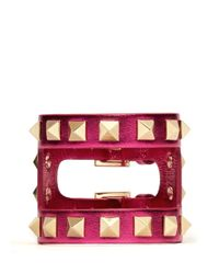 Valentino - Pink Rockstud Cutout Metallic Leather Bracelet - Lyst