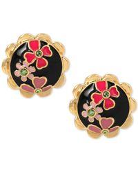 Betsey Johnson | Gold-tone Colorful Flower Black Enamel Button Stud Earrings | Lyst