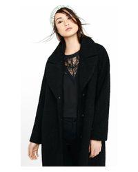 Express - Black Boucle Wide Lapel Coat - Lyst