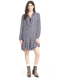 Free People | Gray Button Front Shirtdress | Lyst
