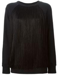 DKNY | Black Fringed Terry Sweatshirt | Lyst
