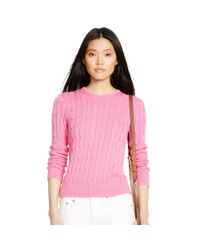 Polo Ralph Lauren | Pink Cable-knit Cotton Sweater | Lyst