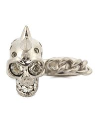 Alexander McQueen | Metallic Silver Plated Chain And Skull Ring | Lyst