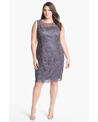 Adrianna Papell | Gray Shirred Bead Sleeve Dress | Lyst