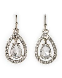 Ak Anne Klein | Metallic Silver-Tone Oscillating Teardrop Earrings | Lyst