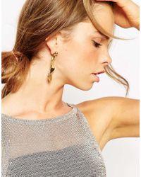 ASOS | Metallic Folded Metal Occasion Swing Earrings | Lyst