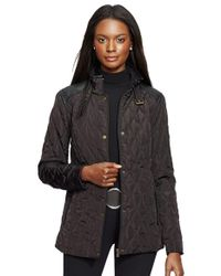 Lauren by Ralph Lauren Brown Faux Leather Trim Quilted Jacket