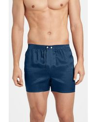 Derek Rose | Blue 'woburn' Silk Boxers for Men | Lyst