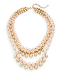 Lydell NYC | Three Row Beaded Statement Necklace/pink | Lyst