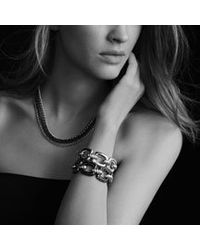 David Yurman - Metallic Midnight Mélange Cushion Link Bracelet with Diamonds - Lyst