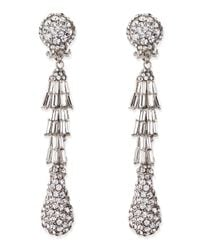Jose & Maria Barrera | Metallic Silver-plated Deco Crystal Clip-on Earrings | Lyst