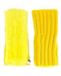 Yves Salomon - Yellow Ribbed Fingerless Gloves - Lyst