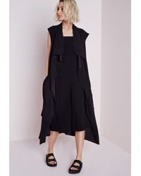 294b4c0392fd9d Lyst - Missguided Sleeveless Belted Waterfall Duster Coat Black in Black