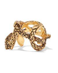 Saint Laurent - Metallic Burnished Gold-tone Ring - Lyst