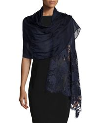 Valentino | Blue Voile Stole With Rose Lace | Lyst