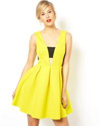 ASOS | Yellow Neoprene Bonded Bra Insert Skater Dress | Lyst