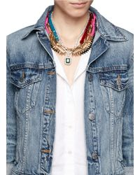 Venna - Multicolor Crystal Spikes Chain Necklace - Lyst