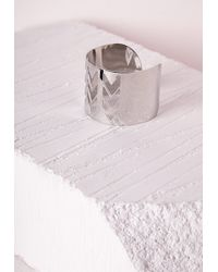 Missguided | Metallic Chevron Cut Out Cuff Silver | Lyst