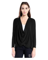 Michael Stars | Black French Terry Drape Front Top | Lyst