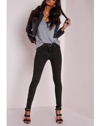 Missguided   Gray Hustler Mid Rise Eyelet Seam Skinny Jeans Charcoal   Lyst