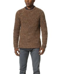 Billy Reid | Orange Raglan Shaker Stitch Crew Sweater for Men | Lyst