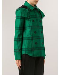 Tibi - Green Plaid Hood Coat - Lyst