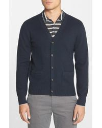 Jack Spade | Blue Combed Cotton Cardigan for Men | Lyst