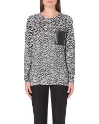 20d9ddbf07e7c1 MICHAEL Michael Kors Animal-print Knitted Jumper in Black - Lyst
