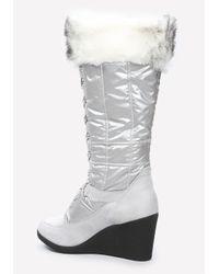 Bebe - Black Rhea Puffy Logo Boots - Lyst