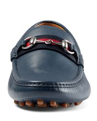 Gucci - Blue Leather Horsebit Driver Shoe - Lyst