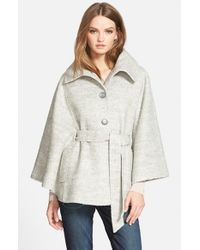 Jessica Simpson | Gray Belted Boucle Cape | Lyst