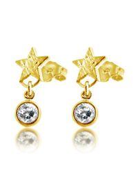Belcho - Metallic Stars With Cz Drops Stud Earrings - Lyst