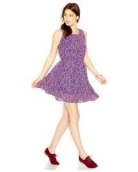 Maison Jules - Purple Sleeveless Crew-Neck Printed Flared Dress - Lyst