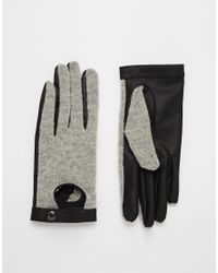 Pieces | Gray Viluka Wool Cutout Gloves | Lyst