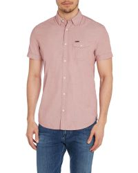 Duck and Cover | Red Plain Classic Fit Short Sleeve Button Down Shirt for Men | Lyst