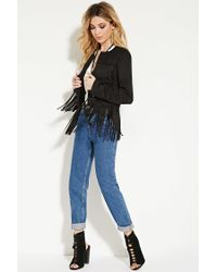 Forever 21 - Black Fringed Faux Suede Jacket - Lyst