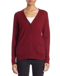 Lord & Taylor | Red Plus Merino Wool V-neck Cardigan | Lyst