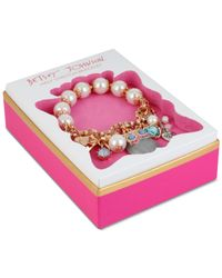 Betsey Johnson | Metallic Rose Gold-tone Owl Charm And Faceted Bead Stretch Bracelet | Lyst