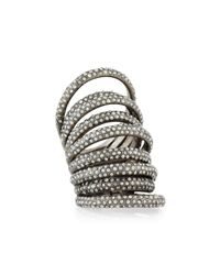 St. John | Metallic Nine-row Crystal Cocktail Ring | Lyst