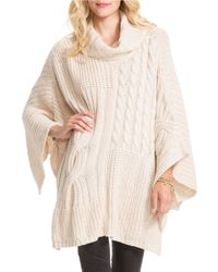 Jessica Simpson | Natural Cable Knit Poncho | Lyst