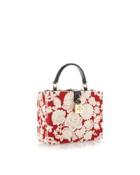 Dolce & Gabbana | Multicolor Rosso and Ecru Embroidered Cady Box Bag | Lyst